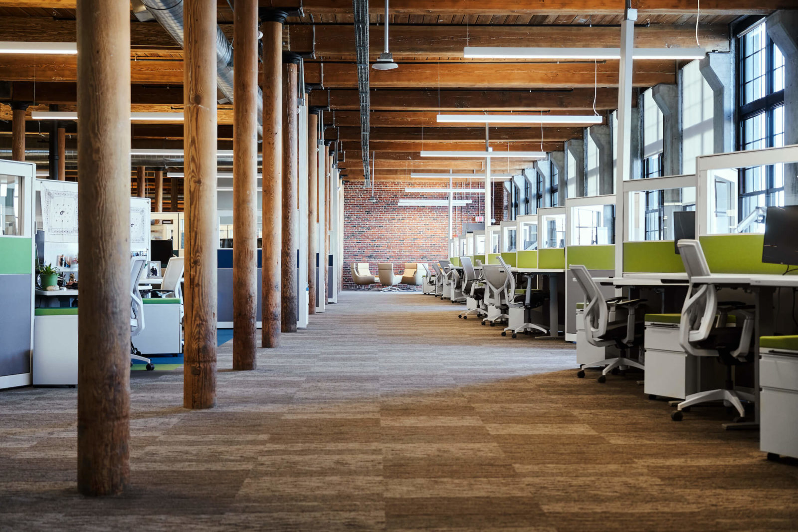 Rows of cubicles inside renovated office space