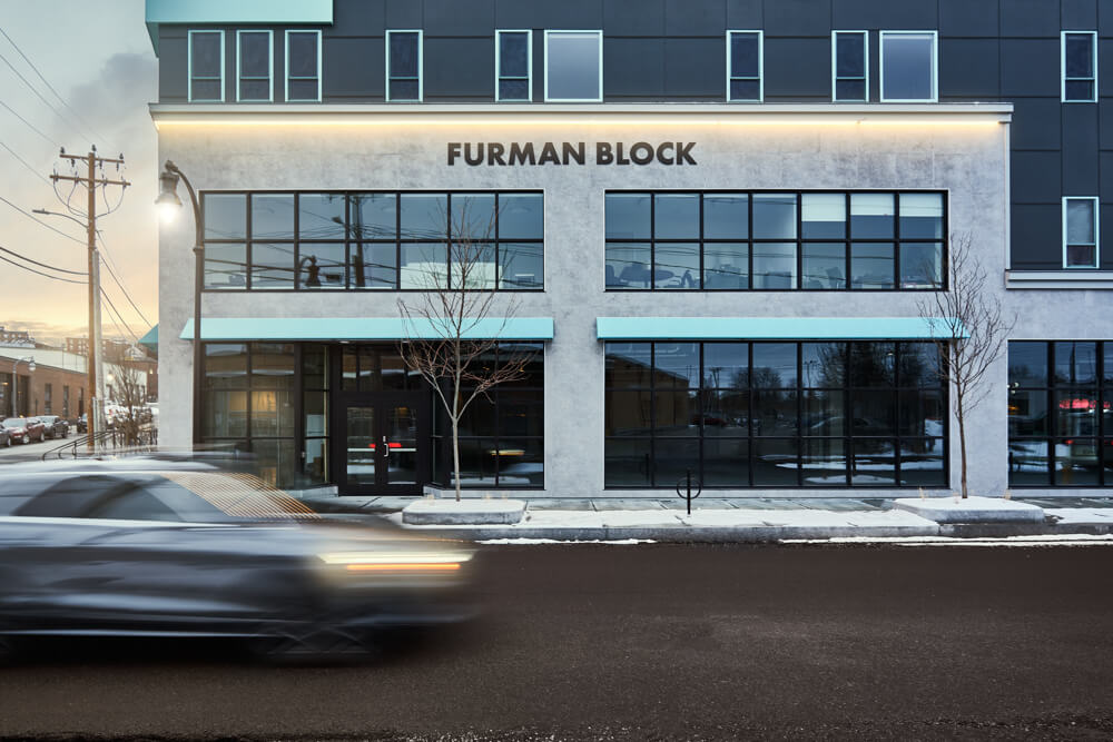 newly constructed furman block - storefront windows